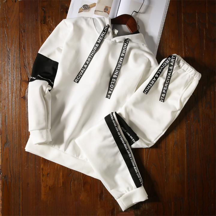 Men's t - shirt new sports leisure suit young men slim two pieces of thin clothes white M