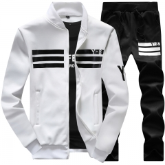 New long-sleeved sports casual suit baseball jersey suit for men white 3xl