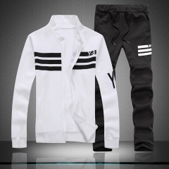 Sports suit men's wear hooded men's coat trend handsome clothes casual three-piece suit white m