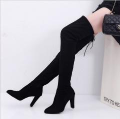 Boots women's knee high heels women's fine with new long boots high boots shoes women black 34