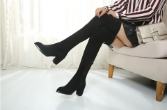New women's high heel women's shoes over the knee boots Martin boots thick with women's shoes black 34