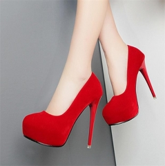 Women's new shoes women's shoes high-heeled pointed stiletto bridesmaid shoes women's shoes red 34