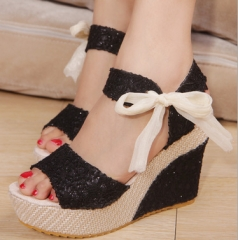 Wedges for women's summer waterproof platform for European and American women's shoes black 35