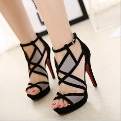 New summer European station leather stitching geometric pattern ultra high heel fish mouth sandals black 34