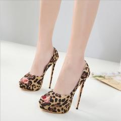 Women's high heels American sexy leopard fish mouth women's high heels bare 34