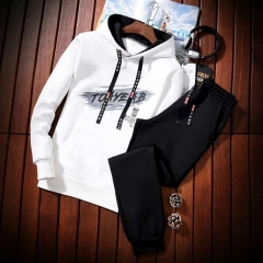 Men's sweater suits, men's hoodies, young students, fashion stamps, casual clothes, men's fashion. white m