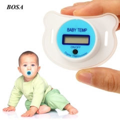 Newborn Baby Mouth Nipple Pacifier Soother LCD Digital Temperature Thermometer Medical Silicone pink one size
