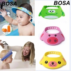New Baby Children Kids Safe Bath Bathing Shower Hat Wash Hair Shield Adjustable Elastic Shampoo Cap Pink Free size