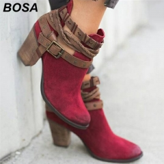 BOSA 2018 New Fashion Woman Shoes Boots Lady Causal Martin Boots Flat Shoes Plus Size 35 43 Red 42
