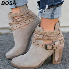 BOSA 2018 New Fashion Woman Shoes Boots Lady Causal Martin Boots Flat Shoes Plus Size 35 43 Grey 37