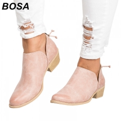BOSA 2018 New Winter Women Shoes Martin Boots Plus Size 35-43 PU Suede Ankle Boots Causal Flat Shoes black 35