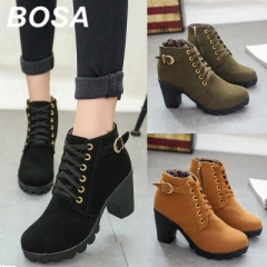 BOSA 2018 Winter Lace-Up Ankle Boots Women Shoes Causal Martin Boots Flat Shoes Lady Heels Boots Black 35