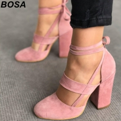 BOSA 1 Pair Plus Size 35-43 PU Suede Bandage Sexy High Heels Sandals Women's Shoes Heels Office Lady Pink 35