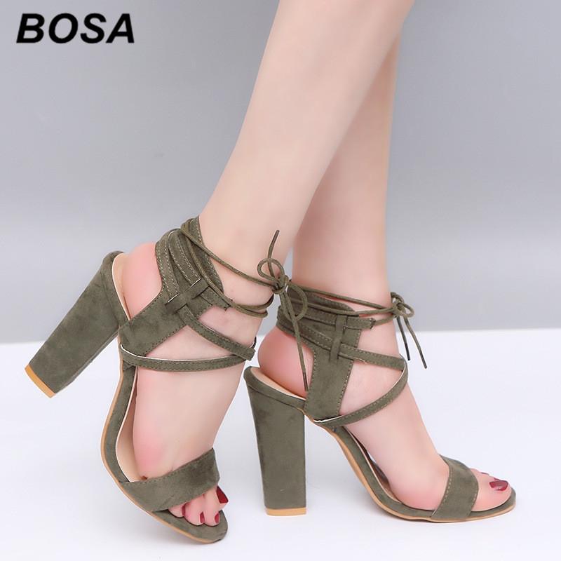 BOSA 1Pair Plus Size 34-43 Lace-up Shoes Women s Shoes Heels Office ... d2b97062d3a6