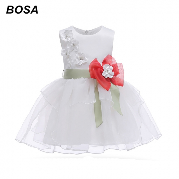 6642ae8687f13 BOSA Girls Dresses Gauze Bowknot Princess Dresses Summer Party Costume Kids  Wedding Dresses white 110cm