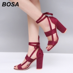 BOSA 1Pair Plus Size 34-43 Lace-up Fashion Sandals Women's Shoes Heels Office Lady High Heels Shoes Wine Red 40
