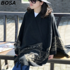 BOSA BOSA Women Pullover Female Sweater Fashion Winter Shawl Warm Casual Loose Knitted Top as picture free size