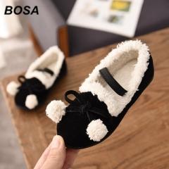 BOSA 1 Pair New Winter Girls Shoes Princess Cotton Shoes Child Kids Shoes Dress Shoes black 26#/16cm