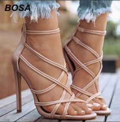 BOSA Fashion PU Cross Belt Thin Heel Pumps High Heels Sandals Women'S Shoes Office Lady Shoes Party nude 39