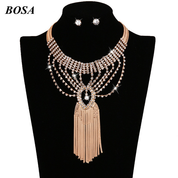 BOSA Hot Bride Alloy Inserts Diamond Necklace Earrings With Ornaments Jewelry Accessories as picture 3 pcs/set