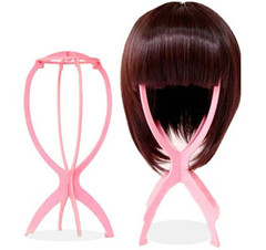 BOSA Wig Stand Plastic Hair Holder Portable Folding Head Holders Durable Wig Hair Hat Cap Holder pink one size