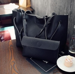 B2000 Handbag Stylish Ladies Fashion Big Shoulder Bag PU Leather Genuine bags Four colors black one size
