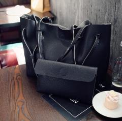 B2000 Handbag Stylish Ladies Fashion Big Shoulder Bag PU Leather Genuine bags Four colors black one size