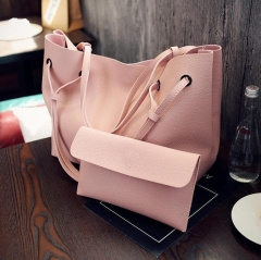 B2000 Handbag Stylish Ladies Fashion Big Shoulder Bag PU Leather Genuine bags Four colors pink one size