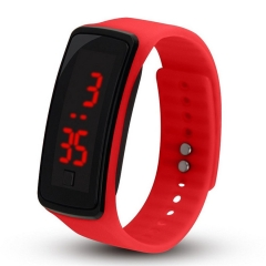 B2000 Unisex Silicone LED Digital Creative Touch Screen Sport Watch Bracele red