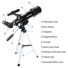 Astronomical Telescope F40070 Compact Tripod Land Space Telescope black
