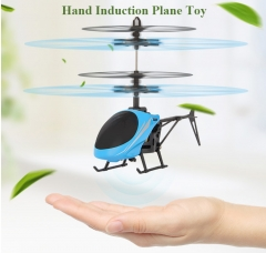 Smart Toy Hand Induction Plane Remote Control Helicopter Aircraft Adult Kids Toys USB Rechargeable Blue 19x4x11cm