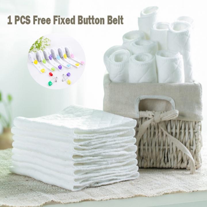 10PCS Baby Nappies Infant Newborn Diaper Washable Reusable Soft Cotton 1PCS Free Fixed Button Belt 10pcs white + 1pcs 50cm Belt 46*17cm