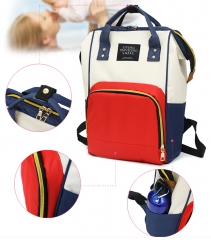 Fashion Travel Mommy Bag Waterproof Large Capacity Baby Milk Powder Diaper Maternal and Child Bag blue+red 38*16*44 cm