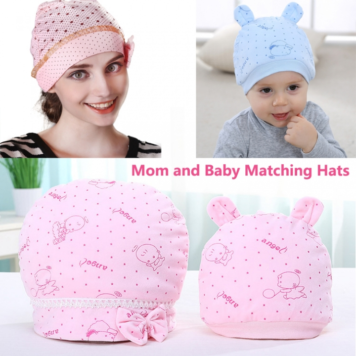 2PCS Soft Cotton New Born Cap Mom and Baby Matching Hats Winter Kids Children Mommy Headwear Hat yellow Baby and mom Cap