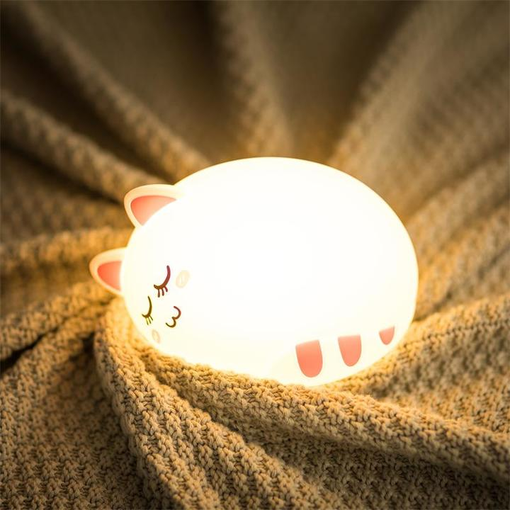 Night Light for Kids, Baby Cute Cat Soft Silicone Animal Nursery Night Lamp pink normal