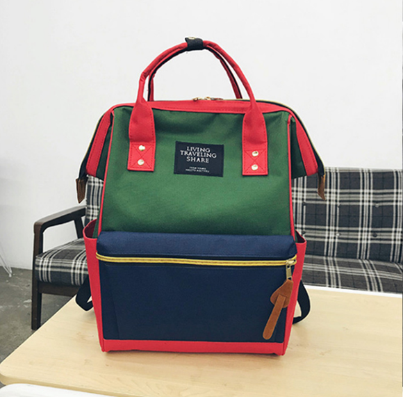 FBK Fast Delivery Fashion Backpack Multi-functional Large Capacity Women's bag Backpack Student Bag red+blue+green normal