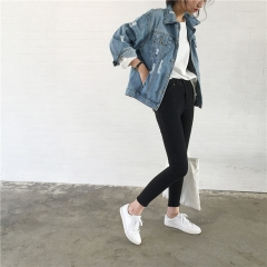 2018 women's basic jacket denim jacket autumn and winter women's jeans coats loose casual style blue s