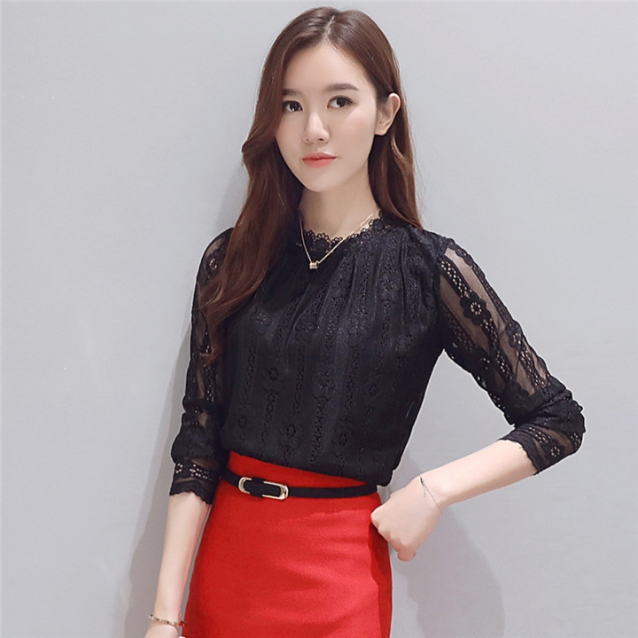 1276fb31cec New fashion plus size women s shirts Long sleeve white Lace blouse crochet  Autumn hollow out tops