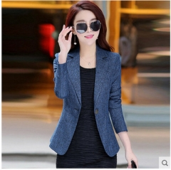 Ladies short blazer jacket elegant one button coat ladies suit business Blouson women casual smock blue xl
