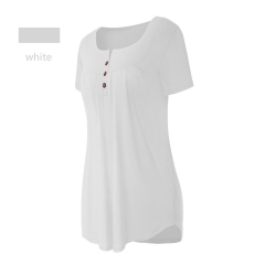 Women Fashion Summer Shirts Lady Tops Cotton Short Sleeve Solid Color Blouse Loose Pleated Hem Tops white s