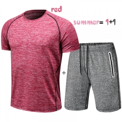 Men's Shirts&Shorts Summer Outfits Playsuits Fitness Clothes Breathable Casual  Quick Dry Suit red l