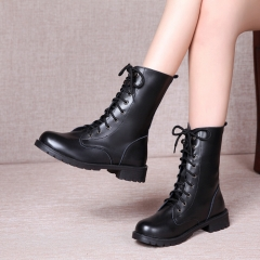 New Women Shoes Autumn Winter Ladies Boots Lace Up Round Toe Women Mid-calf Boots black 40