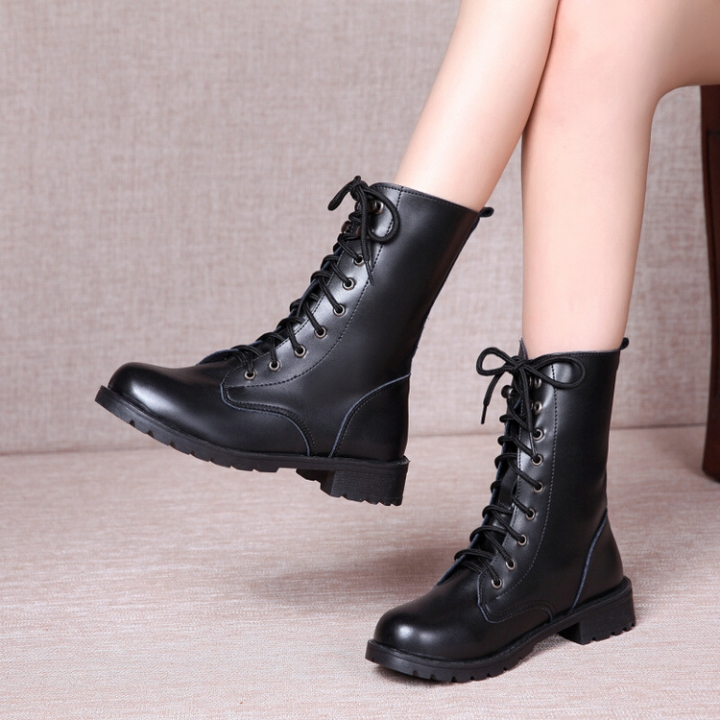 New Women Shoes Autumn Winter Ladies Boots Lace Up Round Toe Women Mid-calf Boots black 35