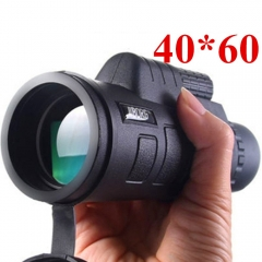 High Power 40X60HD Monocular Telescope Night Vision Outdoor Hiking Portable Telescope with Compass black
