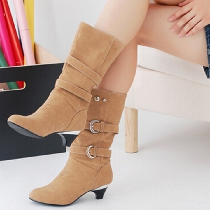 a703f663979 Women Shoes Chunky Heels Knee High Leather Boots Belt Buckle Metal Boots  Autumn Winter Lady Boots khaki 37