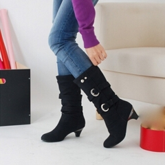 Women Shoes Chunky Heels Knee High Leather Boots Belt Buckle Metal Boots Autumn Winter Lady Boots black 35
