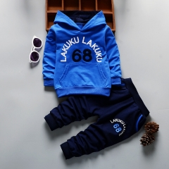 Toddler Casual Tracksuit Set Baby Clothes Sets Children Boys Girls Kids Hooded Tops and Pants blue 90cm