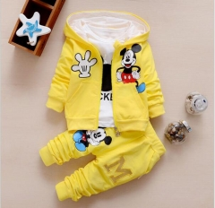 Children Girls Boys Clothing Sets Autumn 3 Piece Suit Hooded Coat Baby Cotton Tracksuits Pants&Tops yellow 80cm