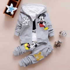 Children Girls Boys Clothing Sets Autumn 3 Piece Suit Hooded Coat Baby Cotton Tracksuits Pants&Tops gray 80cm