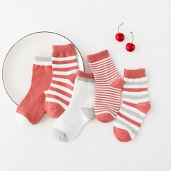 5 Pairs/lot Baby Boys Girls Stripes Socks Soft Cotton Infant Socks Cute Cartoon Pattern Kids Socks red 0-1 year